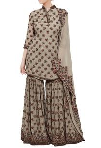 floral-embroidered-short-kurta-sharara-set