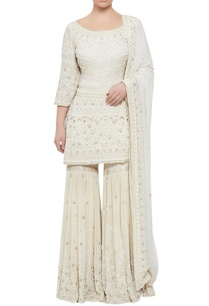chiffon-sequin-pearl-hand-embroidered-kurta-sharara-set