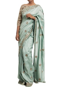embroidered-sari-with-contrast-blouse