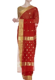 chanderi-sari-with-zari-flowers-unstitched-blouse