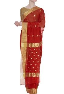 chanderi-sari-with-zari-flowers-unstitched-blouse