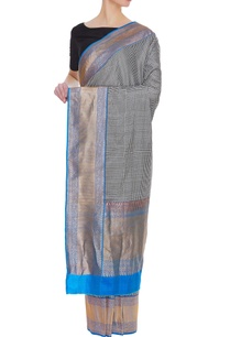 checkered-banarasi-silk-sari-with-blue-palla-border