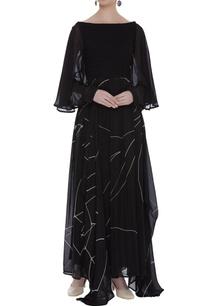 textured-yoke-drapped-maxi-dress
