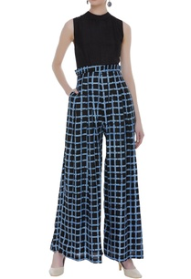 checkered-ruffle-waist-jumpsuit