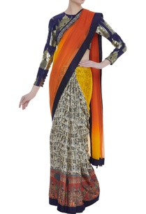 shaded-pattern-sari-with-brocade-blouse
