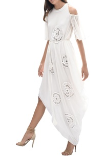 cold-shoulder-embroidered-draped-dress