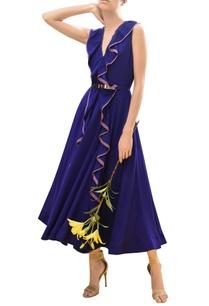 ruffle-detail-draped-midi-dress