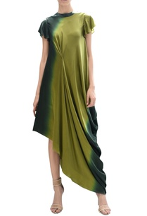 ombre-draped-asymmetric-dress