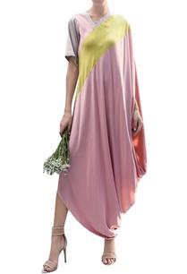 colour-block-draped-dress