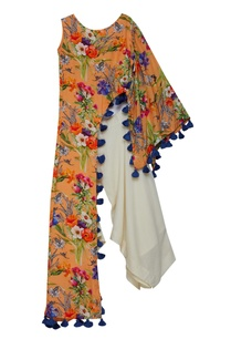off-shoulder-printed-tunic-with-flared-pants