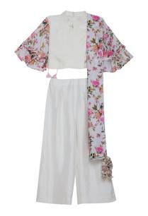 one-side-drape-flower-print-kurta-set