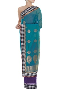 chanderi-sari-with-unstitched-brocade-blouse-fabric