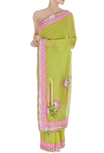 chanderi-sari-with-unstitched-block-printed-blouse-fabric