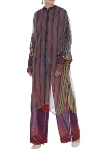 printed-shirt-pant-with-sheer-cape-set