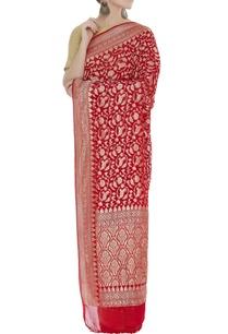 leaf-motif-banarasi-handwoven-sari-unstitched-blouse