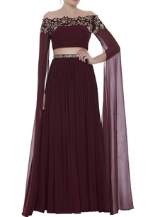 cape-sleeve-top-pleated-lehenga