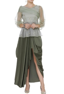 one-shoulder-embroidered-top-with-cowl-skirt