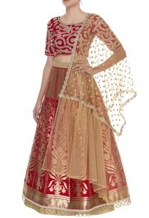 brocade-lehenga-with-embroidered-blouse-dupatta