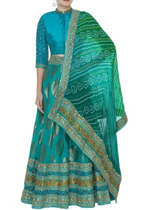 embroidered-lehenga-with-blouse-and-bandhani-dupatta