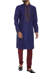 pure-silk-embroidered-kurta-with-churidar