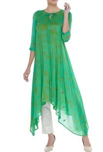 hand-embroidered-tie-dye-asymmetric-kurta