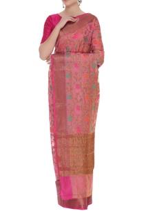 chanderi-silk-sari-with-unstitched-blouse