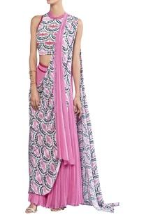 crane-printed-pre-draped-sari-with-blouse