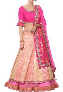 leheriya-lehenga-with-bandhej-blouse-dupatta