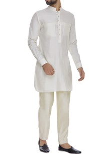 spun-silk-kurta-with-turn-up-sleeves