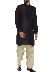spun-silk-kurta-with-folded-band-collar