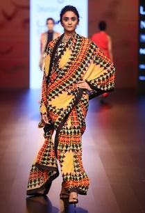 multicolored-pre-pleated-printed-sari