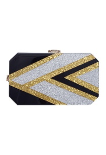 hexagonal-silver-gold-glitter-embellished-clutch