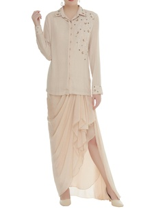 pearl-sequin-embroidered-shirt-with-draped-skirt