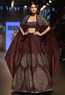 embellished-lehenga-with-long-cape-and-bustier