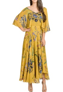 printed-cape-sleeves-midi-dress