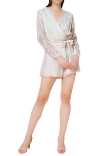 chikankari-embroidered-block-printed-playsuit-with-belt