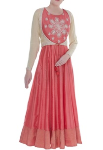 flared-anarkali-kurti-with-cropped-jacket