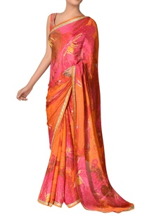 floral-printed-sari-with-unstitched-blouse-fabric