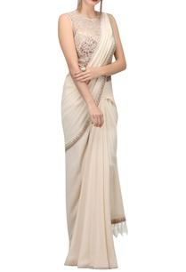 metallic-thread-embroidered-pre-draped-sari-with-bodysuit