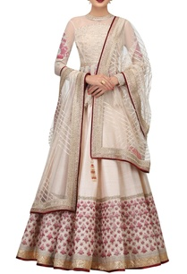 raw-silk-net-embroidered-lehenga-with-peplum-blouse-net-dupatta