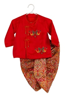 bird-embroidered-kurta-and-dhoti-set
