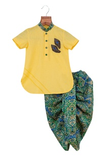 embroidered-kurta-with-printed-dhoti-pants
