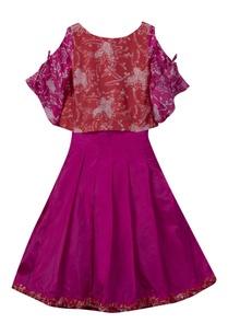 batik-print-top-with-pleated-skirt