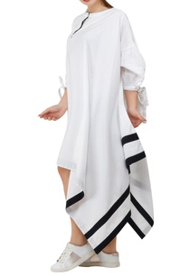 asymmetric-dress-with-tie-up-sleeves