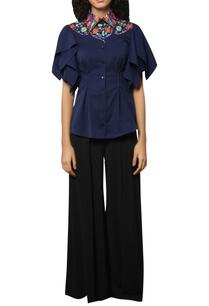 embroidered-neck-linen-shirt