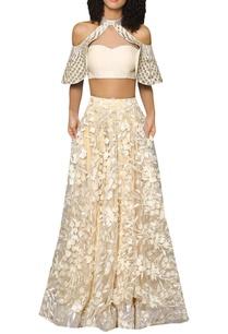 halter-bustier-blouse-with-flared-lehenga-skirt