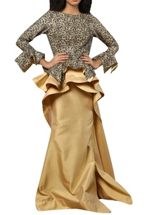 embroidered-crepe-blouse-with-ruffle-layered-skirt