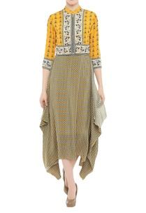 printed-midi-dress-with-zippered-short-jacket