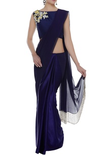 fringe-border-sari-with-embroidered-blouse