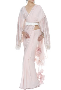 3d-rose-sari-with-fringe-blouse-belt